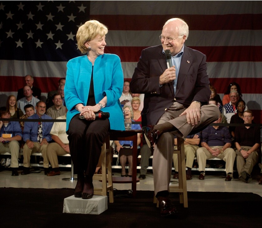 Lynne Cheney, left, with her husband the then-Vice President in 2004. Did she lead an ex-Harvard president astray with a 1991 speech?