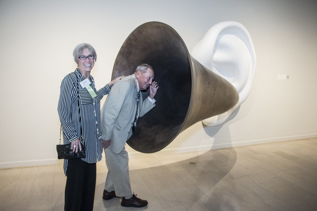 Margaret and Herb Zoehrer interacted with 'Beethoven's Trumpet,' a sound sculpture by John Baldessari.