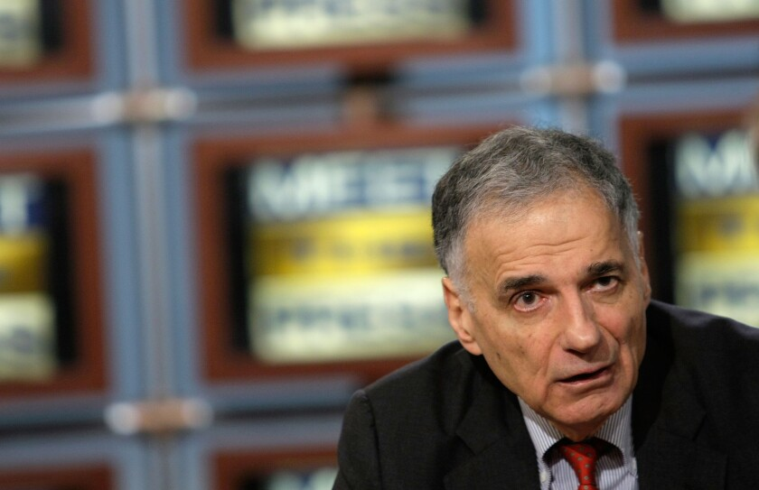 Ralph Nader, whose Green Party presidential candidacy in 2000 some analysts believe contributed to George W. Bush's victory.