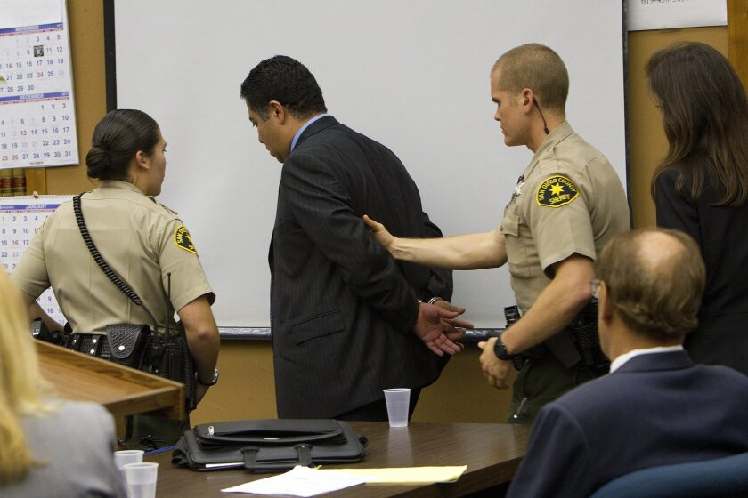 Following the verdict reading, Anthony Arevalos was ordered by Judge Jeffrey Fraser to be taken into custody.  Arevalos who had been on the police force 18 years, was accused of seeking sexual favors from women he stopped for DUI. He was convicted of eight felonies and acquitted of nine.