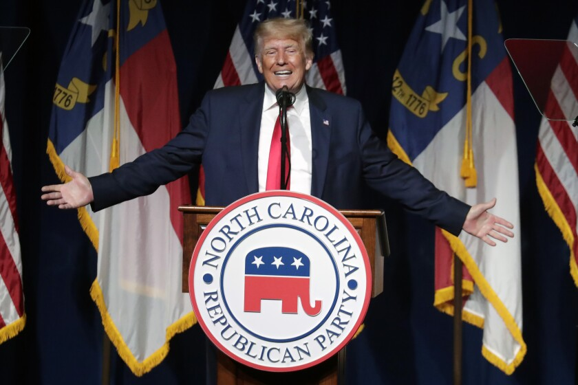 Former President Donald Trump speaks at the North Carolina Republican Convention in Greenville, N.C., on Saturday, June 5, 2021. (AP Photo/Chris Seward)
