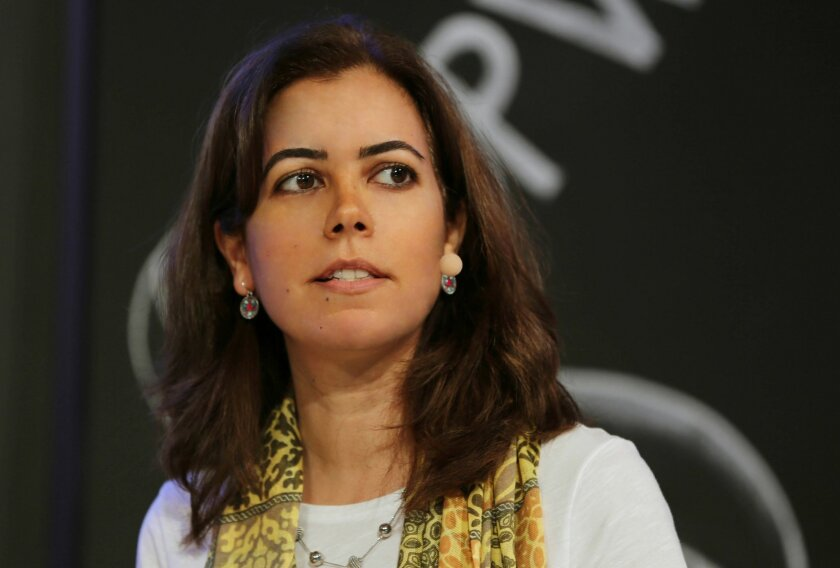 In this Wednesday, May 13, 2015 photo, Associated Press Beirut Bureau Chief Zeina Karam speaks at the Arab Media Forum in Dubai, United Arab Emirates. The Associated Press has named Karam as its news director for Lebanon and Syria, a new position that consolidates leadership in video, text and phot