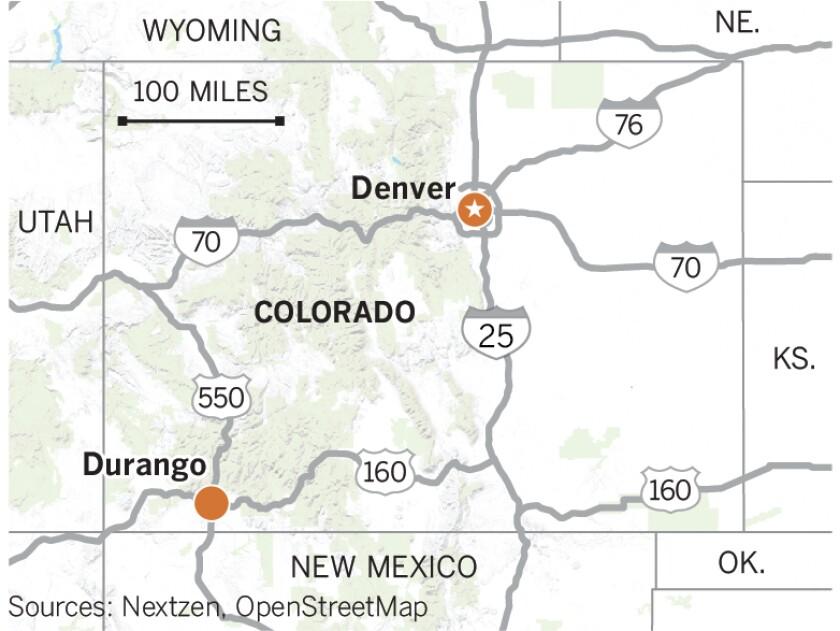 Map of Denver and Durango in Colorado