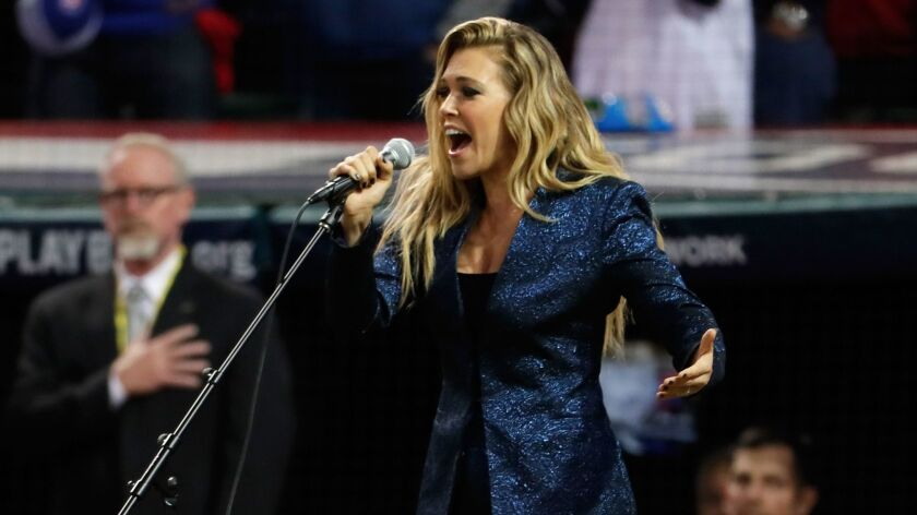 Rachel Platten performs last month in Cleveland during the World Series.