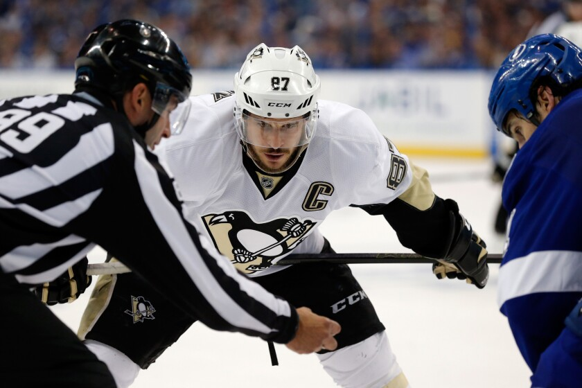 Penguins center Sidney Crosby (87) looks to face off against the Lightning in Game 6 of the Eastern Conference finals on May 24.