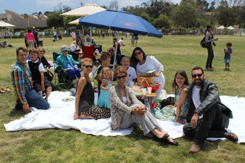 At the family picnic, from left: Scott, Will and Virginia Schreckengaust; Nancy Jackson, Sanoe, River, Sage and Thomas Eaton; Catherine Wentz; Grace and Amber Schreckengaust; Georgianna Wentz, and Michael Eaton