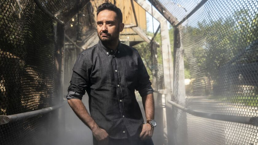 "J.A. Bayona, director of ""Jurassic World: Fallen Kingdom,"" seen here on the Universal Studios back lot."