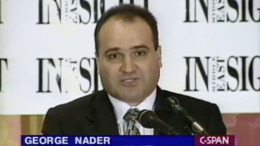 This 1998 frame from video provided by C-SPAN shows George Nader, who has been arrested on charges of transporting a dozen images of child pornography and bestiality.