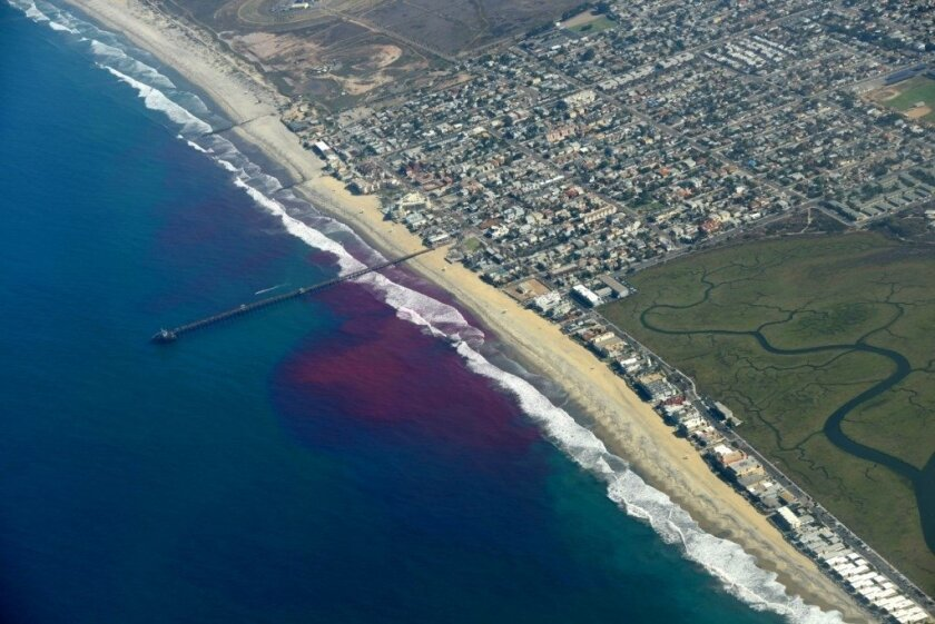 Aerial view of a plume following release of dye south of the Imperial Beach pier.