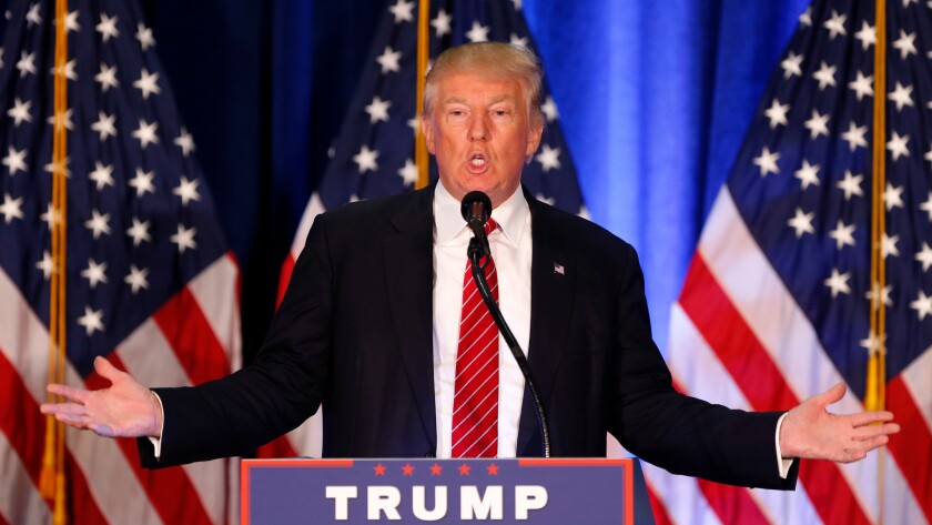 Republican presidential candidate Donald Trump outlines his approach to Islamic terrorism in a speech in Youngstown, Ohio, Monday.