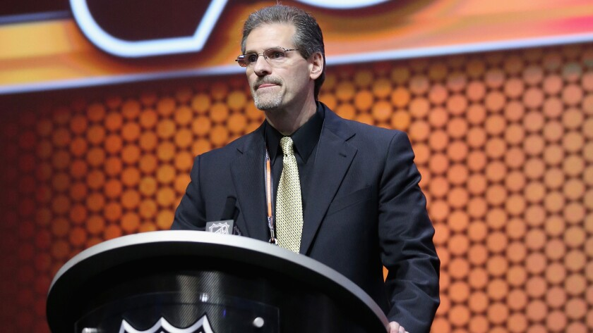 Philadelphia Flyers General Manager Ron Hextall speaks during the first round of the 2014 NHL Draft in Philadelphia in June.