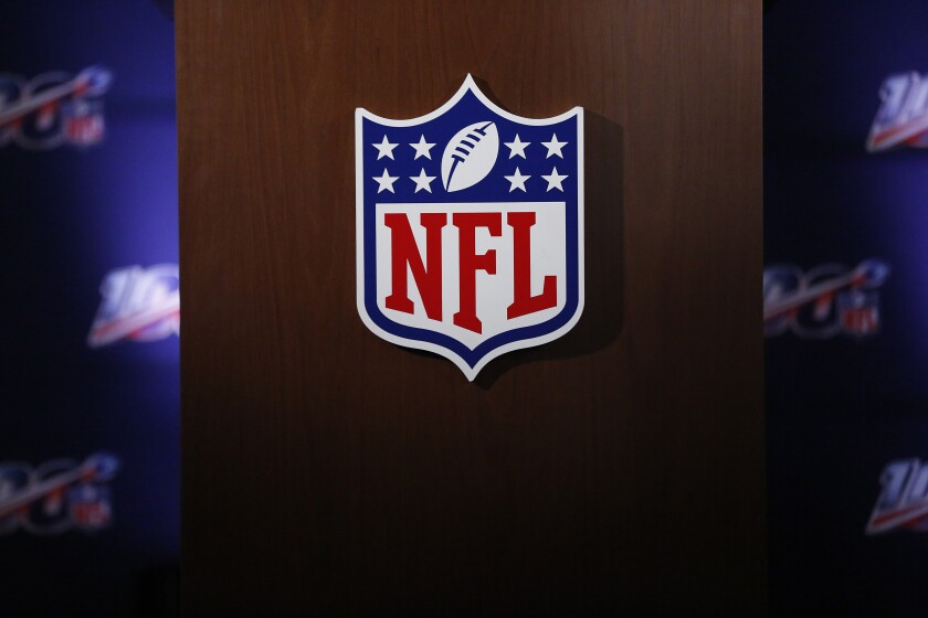 FILE - In this Wednesday, May 22, 2019, file photo, the NFL logo