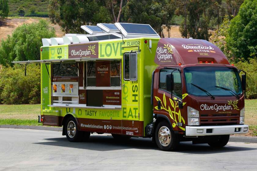 The Olive Garden food truck is making its way across the country, handing out free breadstick sandwiches.