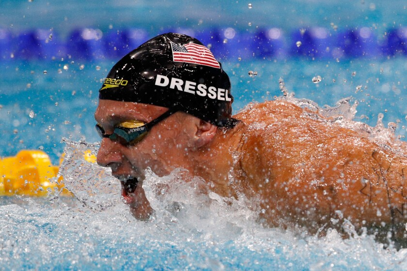 Caeleb Dressel competes during the men's 4x100-meter medley relay final at the World Championships on July 30 in Budapest, Hungary.