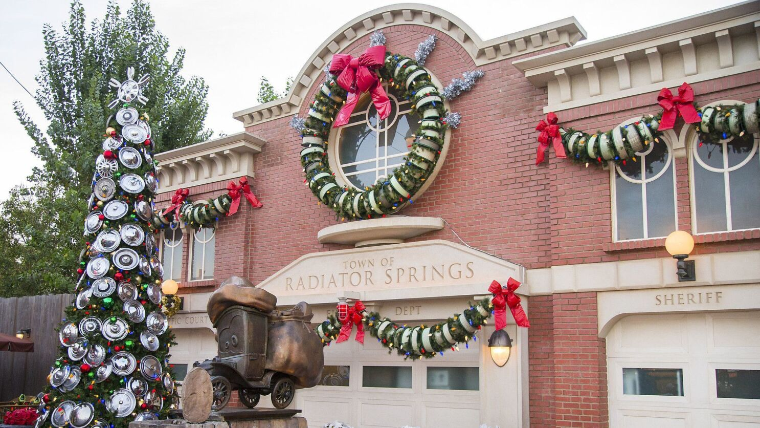 Visit Cars Land Christmas to enjoy holiday decorations made