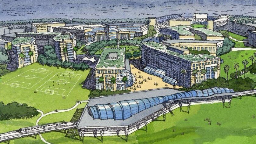 Last year, this rendering of proposed San Diego State University west campus was being touted for the Qualcomm Stadium land. In the background is a stadium.