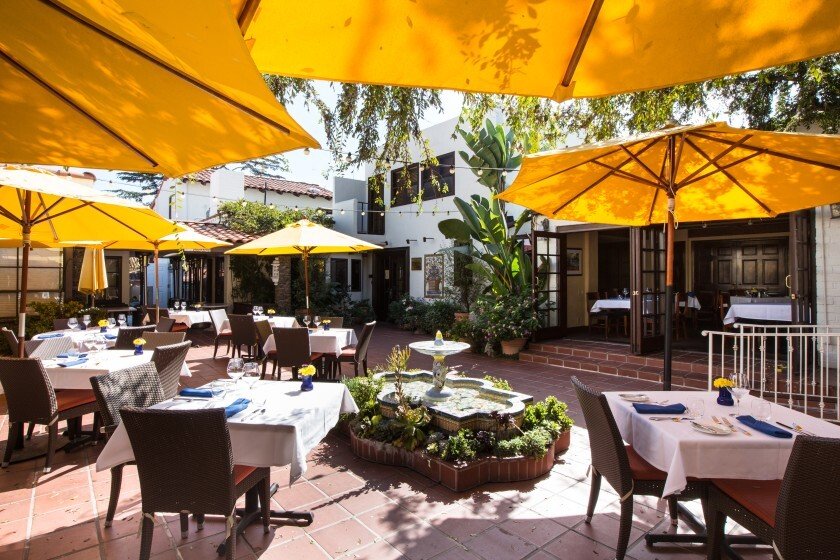 The Mille Fleurs dining patio.