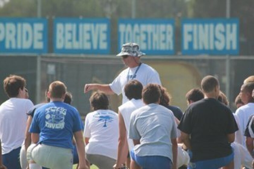 La Jolla Country Day football coach Jeff Hutzler talks to his players before practice Monday. Phil Dailey photo