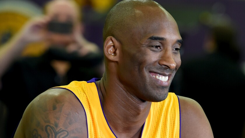 Lakers guard Kobe Bryant participates in media day on Sept. 28 in El Segundo. Bryant is currently receiving treatment for a bruised lower leg.