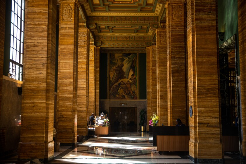 """LOS ANGELES, CALIF. - APRIL 25: William Gilbert's """"The Apotheosis of Power"""" in the lobby of the Cal"""