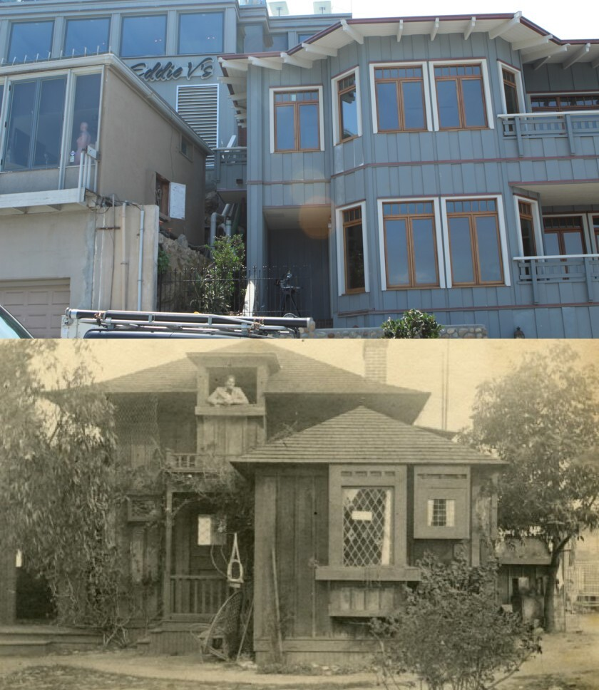 NOW (top): Eddie V's and La Jolla Bay Homes share the former Green Dragon site. THEN (bottom): One of the Green Dragon cottages is pictured circa 1900.