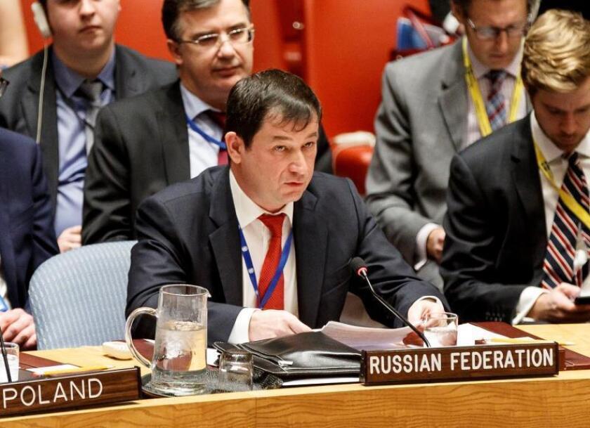 El embajador adjunto de Rusia ante la ONU, Dmitry Polyanskiy, participa en una solución de emergencia ante el conflicto ruso-ucraniano, en la sede de la ONU en Nueva York (Estados Unidos). EFE/ Justin Lane/Archivo