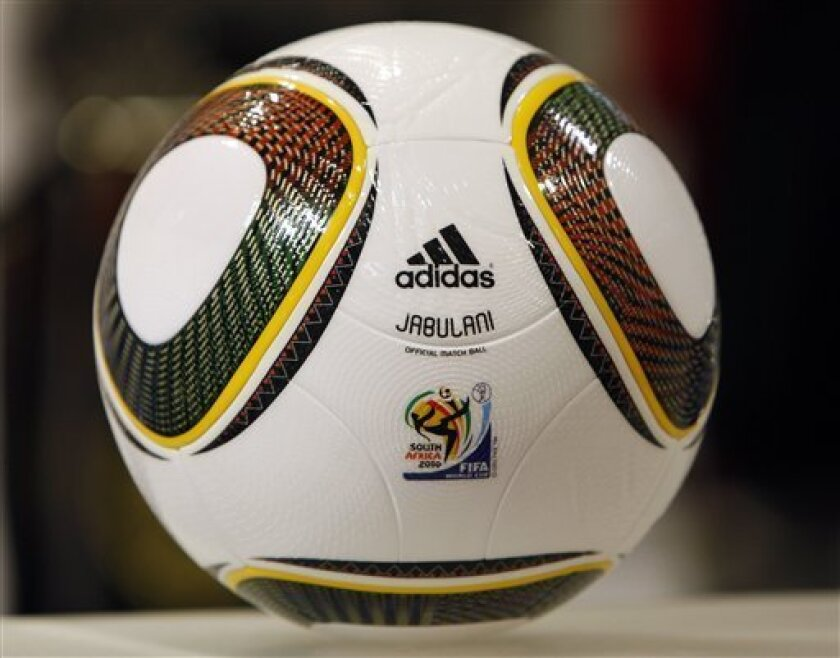 Jabulani, the official ball of the 2010 soccer World Cup in South Africa, is pictured at a sports wear store in Berlin, Germany, Wednesday, Jan. 6, 2010. The ball is made by adidas and was presented at the draw for the World Cup on Dec. 4. (AP Photo/Michael Sohn)