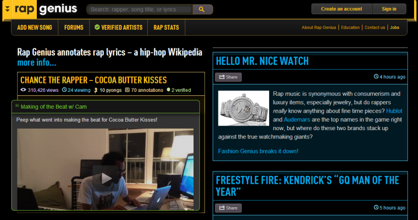 Screenshot from the homepage of Rap Genius, the lyric annotation site with backing from Andreessen Horowitz.