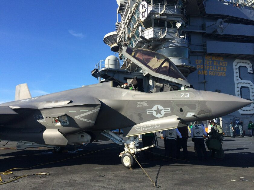 After the first F-35C jet landing on an aircraft carrier, the plane was parked on the deck of the aircraft carrier Nimitz, which was operating off the coast of San Diego.