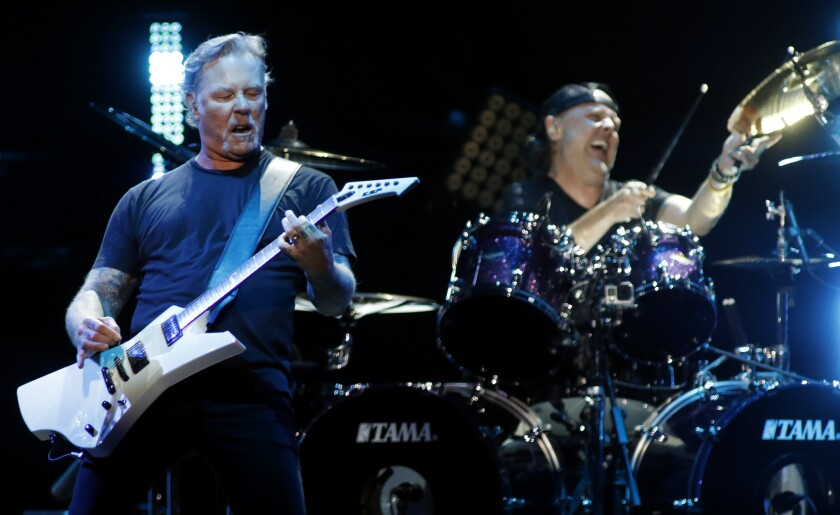 Inglewood, CA January 16, 2019: Metallica on stage during concert tribute to the late Chris Cor
