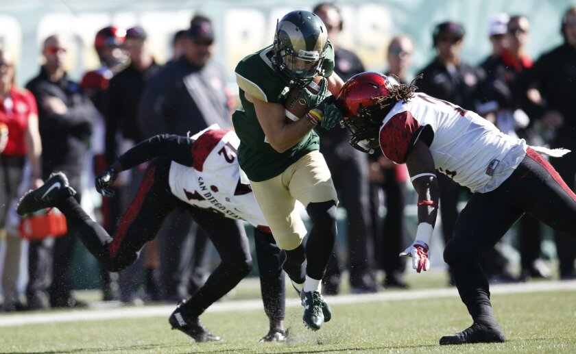 Colorado State wide receiver Joe Hansley, center, is tackled by San Diego State defensive backs Malik Smith, left, and Na'im McGee after pulling in a pass in the first half of an NCAA college football game, Saturday, Oct. 31, 2015, in Fort Collins, Colo. (AP Photo/David Zalubowski)