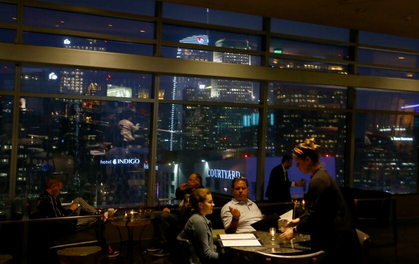 A skyline view of downtown Los Angeles at WP24 in the Ritz-Carlton.