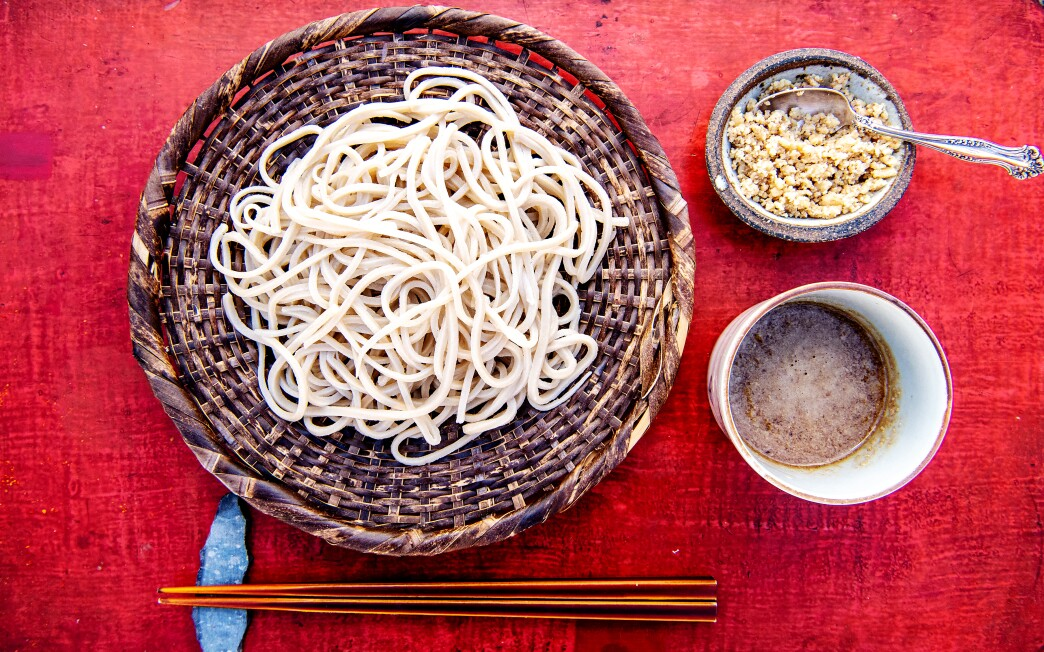 Homemade soba noodles, pictured here with a walnut dipping sauce.