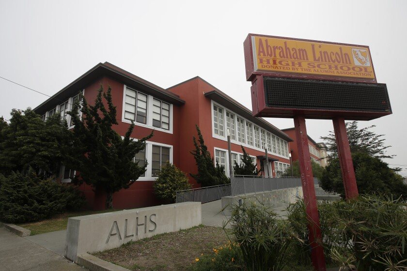 Abraham Lincoln High School stands in San Francisco.