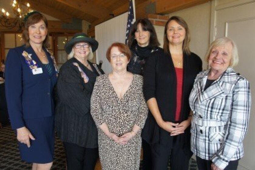 Left to right: Regent Laurel Lemarié; 1st Vice Regent Marti Meiners; Registrar Kathleen Loftman; new members Shirley Sayer and Amy D'Lima; and Chaplain Joanne Dudek.