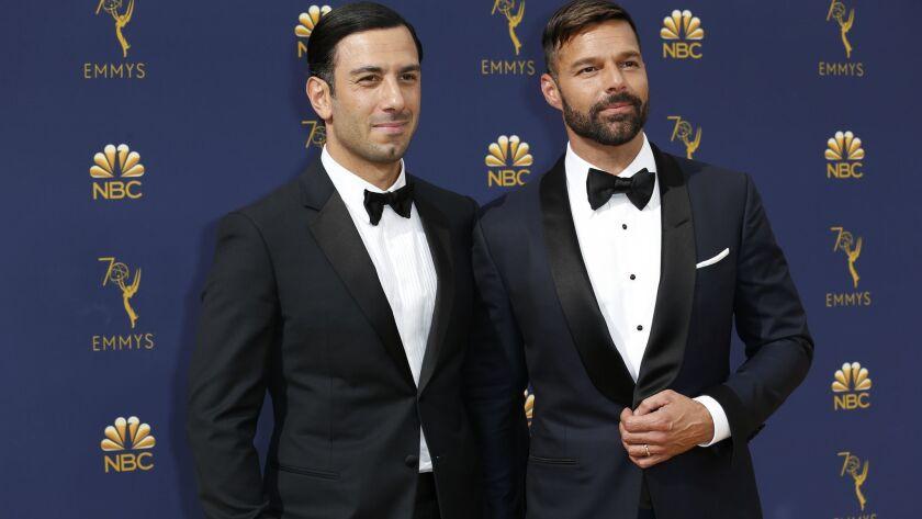 LOS ANGELES, CA., September 17, 2018: Jwan Yosef and Ricky Martin arriving at the 70th Primetime Emm