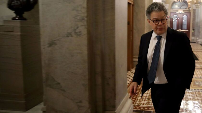 Sen. Al Franken (D-Minn.) outside the Senate chamber last week. He plans a statement on his future amid mounting calls from fellow Democrats for his resignation.