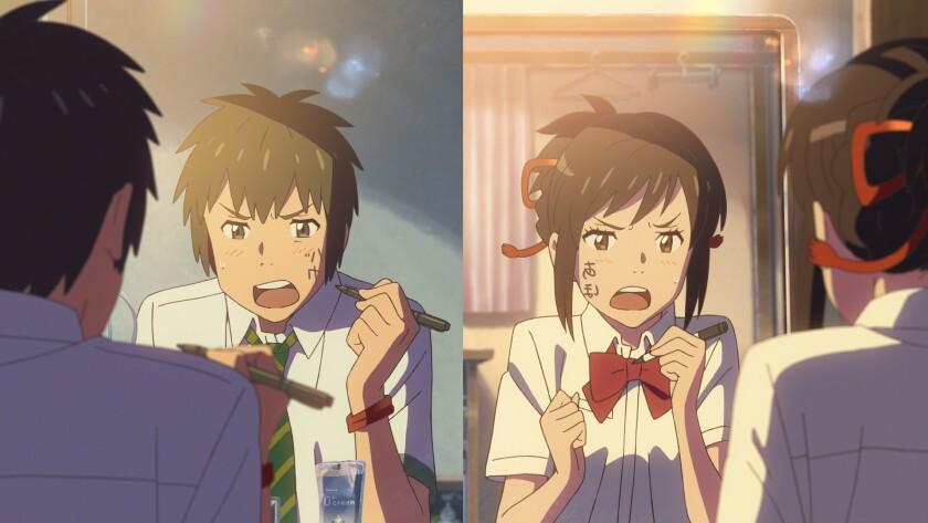 Taki Tachibana voiced by Ryunosuke Kamiki and Mitsuha Miyamizu voiced by Mone Kamishiraishi in the a