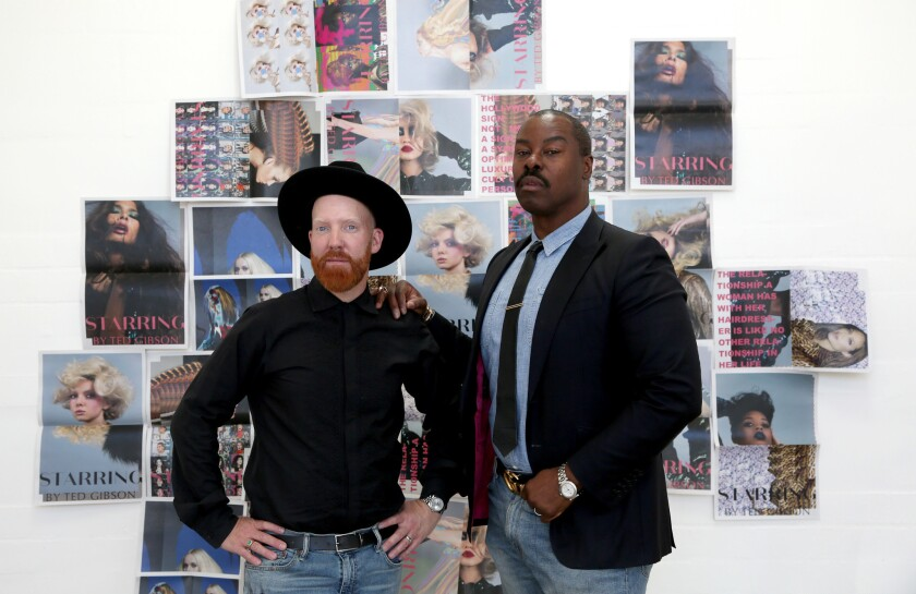 Hair colorist Jason Backe, left, and his husband and business partner, celebrity hairstylist Ted Gibson, in the space for their new salon. The couple recently relocated to Los Angeles after living in New York for 20 years.