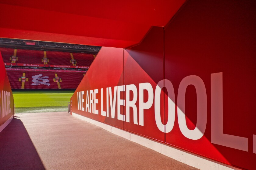 The players tunnel at Anfield Stadium, the home of the Liverpool Football Club, remains empty during the COVID-19 pandemic lockdown.