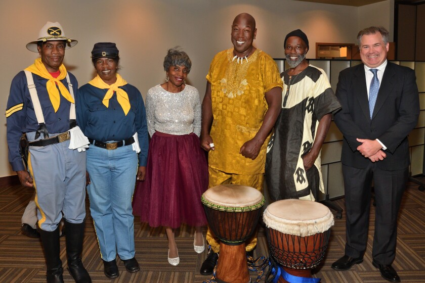 Johnny Grayson and Rachel Hilliard (with Buffalo Soldiers color guard), Lucia Hopkins-Anderson, Amir Abdul Rahim and Abdullah Seifullah (with Our Village Drummers), Tommy Hough