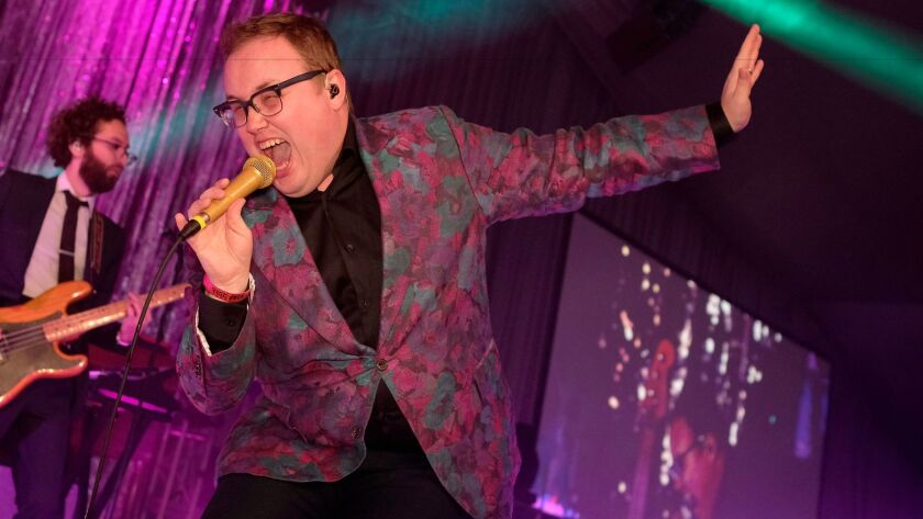 Paul Janeway of St. Paul and The Broken Bones performs during the 25th annual Elton John AIDS Foundation's Academy Awards viewing party in West Hollywood.