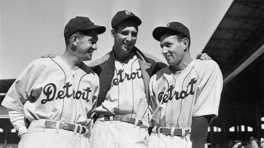 From left to right, Manager Mickey Cochrane, Hank Greenberg, and Charley Gehringer of the Detroit Ti