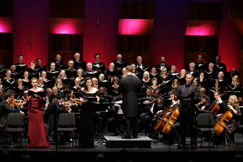 Michael Francis conducts the Mainly Mozart Festival Orchestra on Saturday, June 15, where the ensemble was joined by sopranos Erica Petrocelli and Ellie Dehn, tenor Randall Bills and the San Diego Master Chorale.