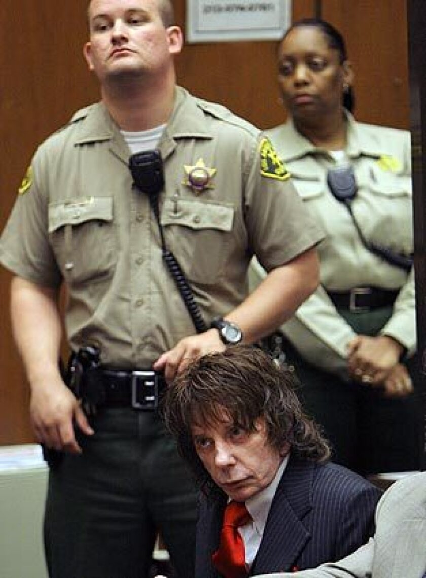 Music producer Phil Spector appears in court Friday to hear his sentence: 19 years to life in prison. Spector, 69, was convicted last month of second-degree murder in the death of actress Lana Clarkson, 40, who was shot in his Alhambra mansion.