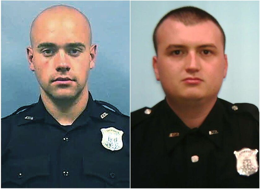 This combination of photos provided by the Atlanta Police Department shows Officer Garrett Rolfe, left and Officer Devin Brosnan. Rolfe, who fatally shot Rayshard Brooks in the back after the fleeing man pointed a stun gun in his direction, was charged with felony murder and 10 other charges. Brosnan, who prosecutors say stood on Brooks' shoulder as he struggled for life after a confrontation was charged with aggravated assault. (Atlanta Police Department via AP)