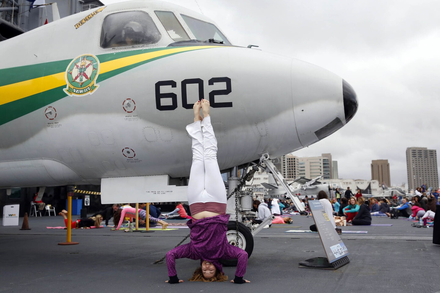 "2717199_sd_pac_yoga_midway_NL San Diego, CA May 6, 2017 Hundreds of yogis gathered for 4th annual ""Yoga on the Midway, a free hour-long class presented by Scripps Health and the Downtown San Diego Partnership. Despite the brisk temperatures and overcast conditions more than 700 participants were led by Amy Caldwell of Yoga One studio. © 2017 Nancee E. Lewis / Nancee Lewis Photography. No other reproduction allow with out consent of licensor. Permission for advertising reproduction required."
