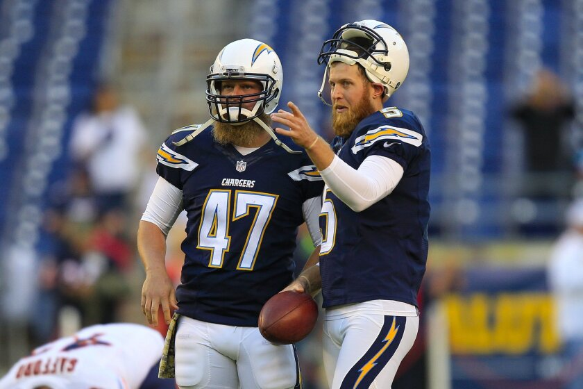 Chargers punter Mike Scifres (right) and long-snapper Mike Windt loosen up before what turned out to be a difficult first half for Scifres against the Chicago Bears on Monday night.