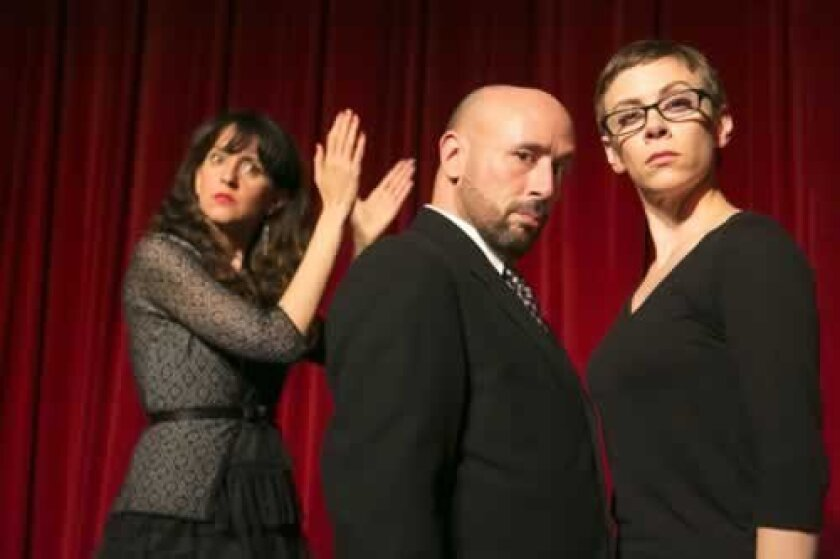 Marla Caceres, Mitchell Fain and Andel Sudik in sketch comedy about the Filner Fiasco playing out at City Hall. Todd Rosenberg