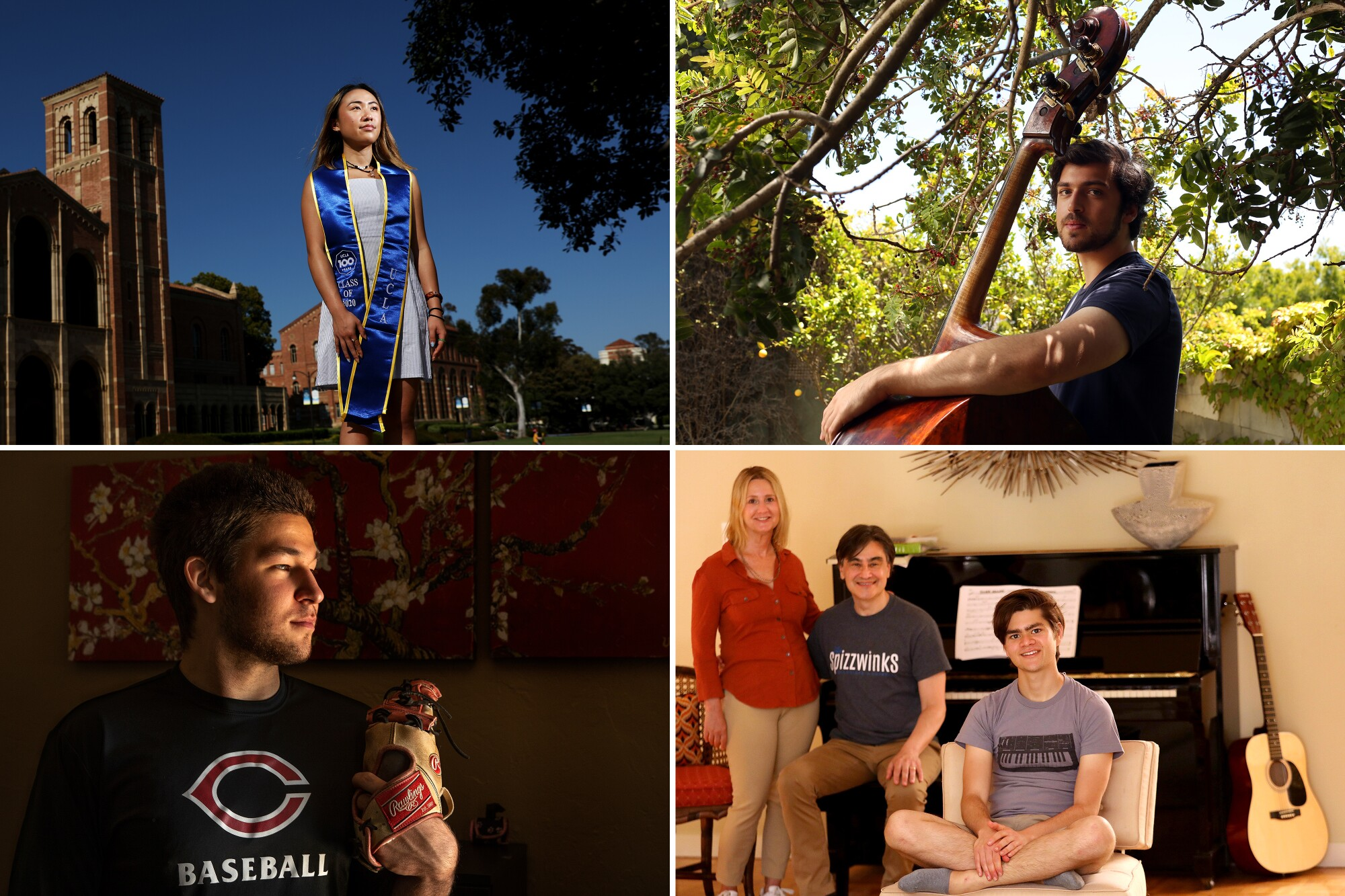Clockwise from top left: Christine Tran, a UCLA senior majoring in international development and Asian studies; Weston Kerekes, a senior at Santa Monica High School; Dylan Schifrin, a senior at Yale majoring in music, with his parents, Lissa Kapstrom and Will Schifrin; and Alec Garcia, a senior at Cleveland Charter High School in Reseda.